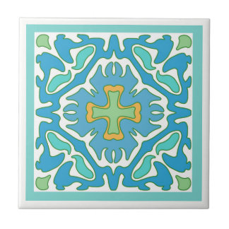 Aqua and Green Abstract with Orange Accent Tile