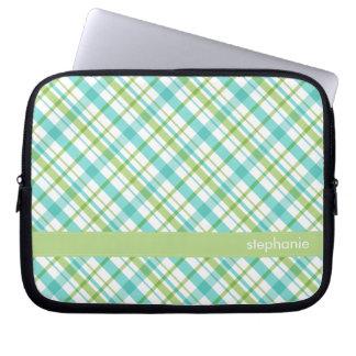 Aqua and Green Plaid Pattern Laptop Sleeve