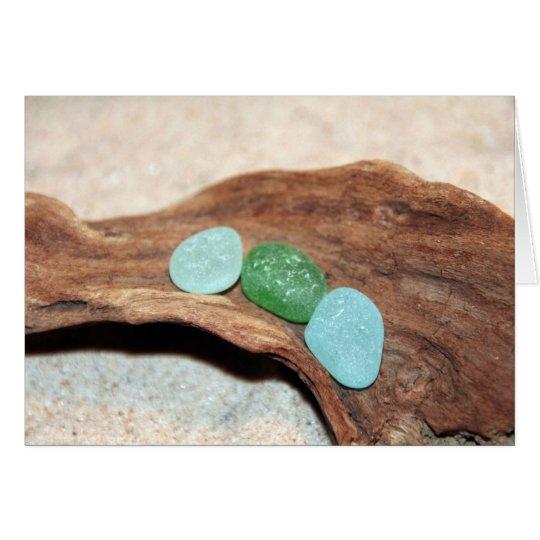 aqua and green seaglass card