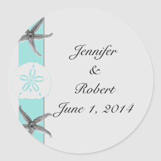 Aqua and Grey Band Starfish Envelope Seal Round Sticker