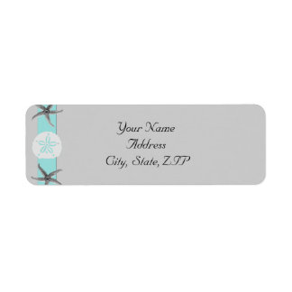 Aqua and Grey Band Starfish Return Address Return Address Label