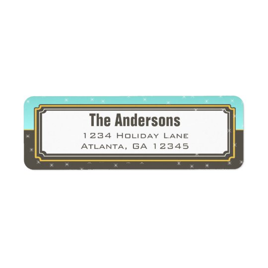 Aqua and Grey Christmas Stars Return Address Return Address Label