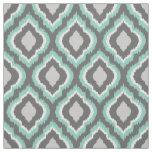 Aqua and Grey Ikat Moroccan Fabric