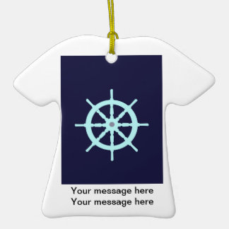 Aqua and Grey Ship's Wheel. Double-Sided T-Shirt Ceramic Christmas Ornament