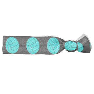 Aqua and Grey Volleyball Hair Tie