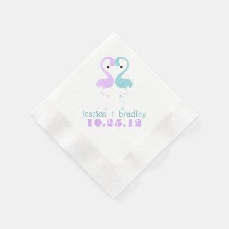 Aqua and Lavender Flamingos Beach Wedding Paper Napkins