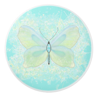 Aqua and Lime Butterfly with Jeweled Body Ceramic Knob