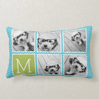 Aqua and Lime Instagram 5 Photo Collage Monogram Throw Pillows