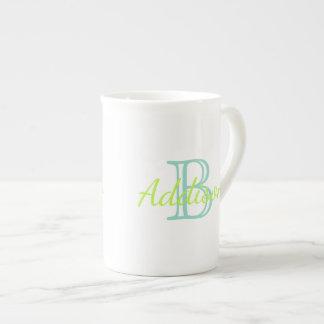 Aqua and Lime Monogram Tea Cup