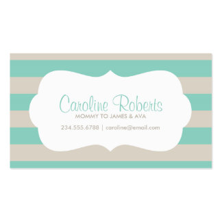 Aqua and Linen Modern Stripes and Dots Pack Of Standard Business Cards