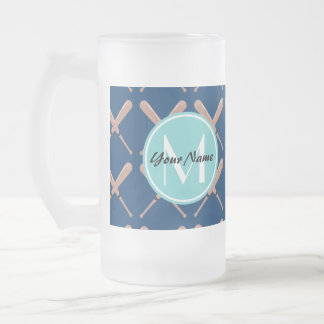Aqua and Navy Baseball Bat Custom Monogram Frosted Glass Beer Mug