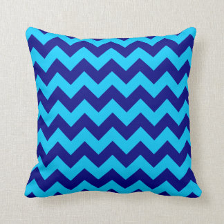 Aqua and Navy Blue Zigzag Throw Pillow