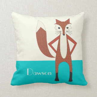 Aqua and Orange Personalized Stylized Fox Pillow