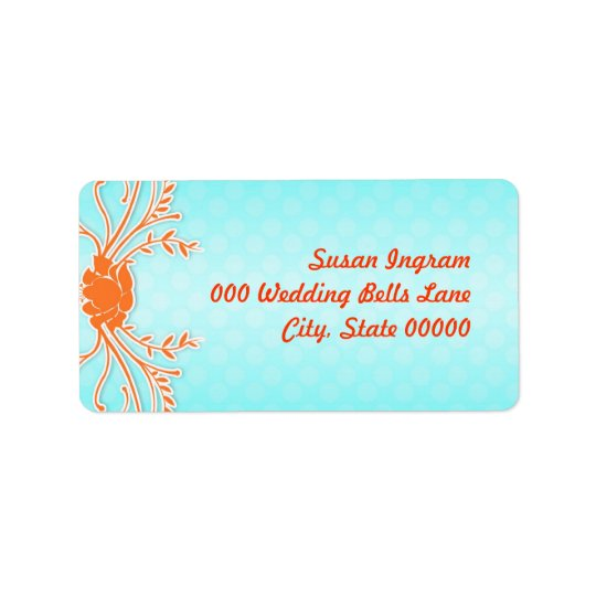 Aqua and Orange Summer Wedding Address Labels