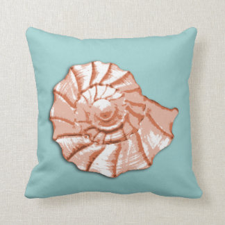 Aqua and Peach Seashell Throw Pillow