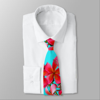 Aqua and Pink Hawaiian Plumeria Print Tie