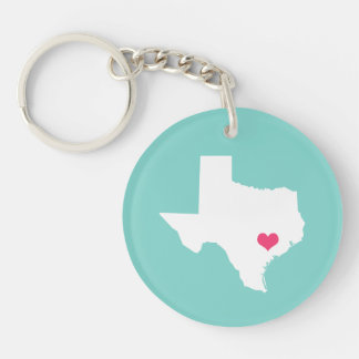 Aqua and Pink Heart Texas Home State Keychain