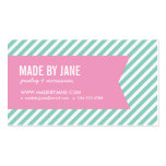 Aqua and Pink Modern Stripes and Ribbon Pack Of Standard Business Cards