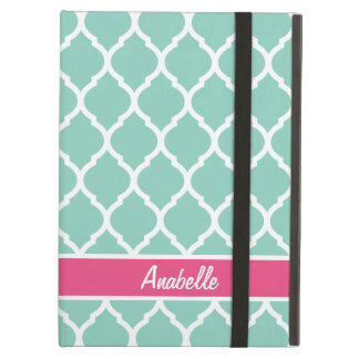 Aqua and Pink Quatrefoil Monogram Cover For iPad Air