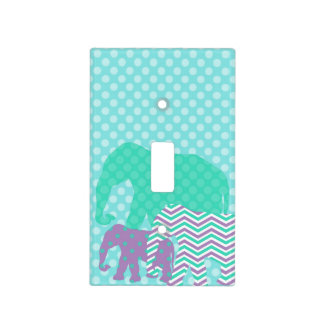 Aqua and Purple Elephants  Light Switch Cover
