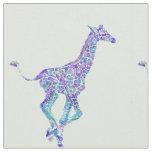 Aqua and purple giraffe personalizable fabric