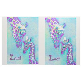 Aqua and purple giraffe quilt top fabric