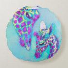 Aqua and purple giraffe round pillow