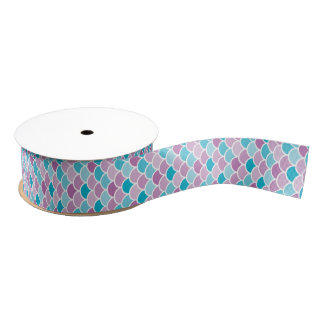 Aqua and Purple Mermaid Ribbon Scales Pattern Grosgrain Ribbon