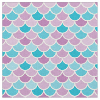 Aqua and Purple Mermaid Scales Pattern Fabric
