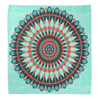Aqua and Red Mandala Bandanna