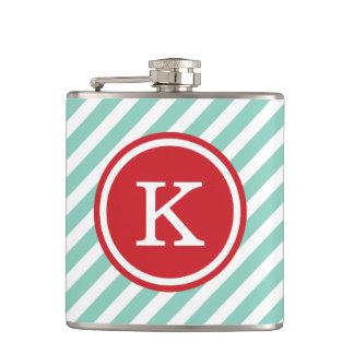 Aqua and Red Nautical Stripes Monogram Hip Flask