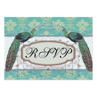 aqua and sage lovely peacock damask pattern business card template