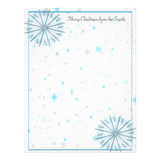 Aqua and Silver Abstract Snowflakes Letterhead Template