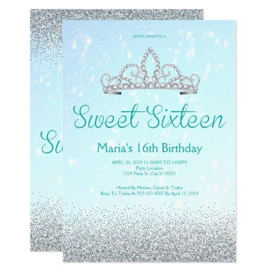 Aqua and Silver Glitter Sweet Sixteen Invitations