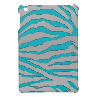 Aqua and Silver Zebra Stripe iPad Mini Cover