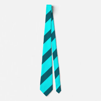 Aqua and Teal Diagonally-Striped Tie