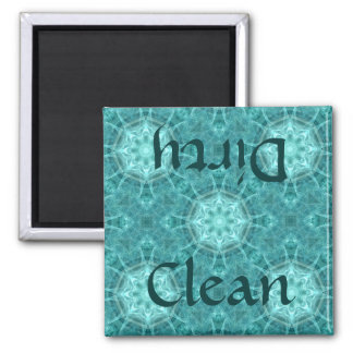 Aqua and teal fractal kaleidoscope clean/dirty magnet