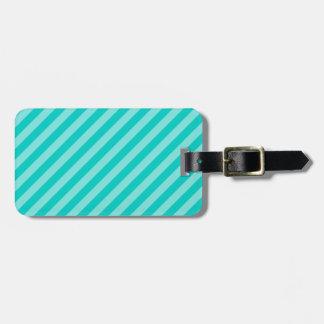 Aqua and Turquoise Stripes Luggage Tag