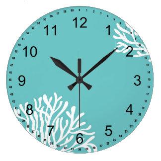 Aqua and White Coral Large Clock