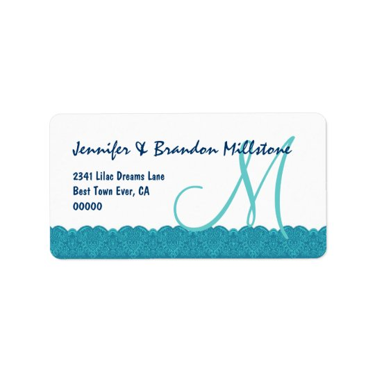 Aqua and White Damask Monogram Lace Border Wedding Label