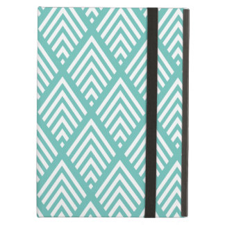 Aqua and White Diamond Arrow Chevron Pattern Cover For iPad Air