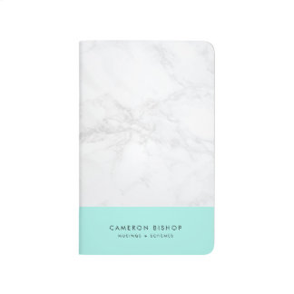 Aqua and White Marble | Modern Personalized Journal