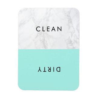 Aqua and White Marble Modern Typography Dishwasher Rectangular Photo Magnet