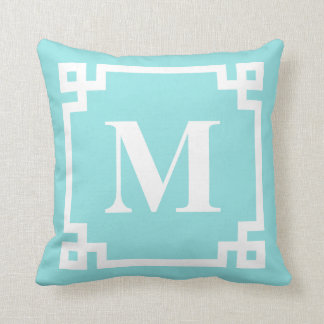 Aqua and White Modern Greek Key Border Monogram Throw Pillow