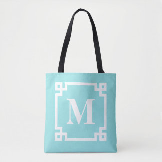 Aqua and White Modern Greek Key Border Monogram Tote Bag