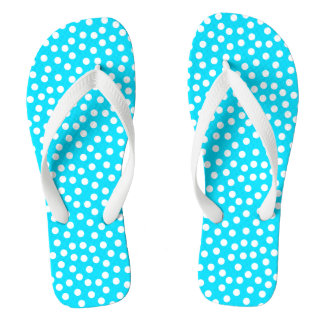 Aqua and White Polka Dot Flip Flops