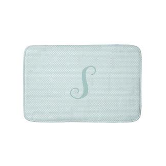Aqua and White Polka Dot Monogrammed Bath Mat