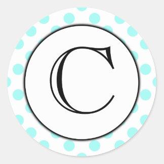 Aqua and White Polka Dot Monogrammed Sticker