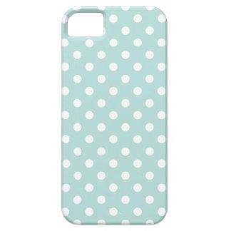Aqua and White Polka Dot Pattern iPhone 5 Covers