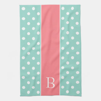 Aqua and White Polka Dot With Coral Pink Monogram Kitchen Towel